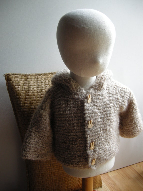 Hooded coat for baby alpaca boucle - natural baby - beige - other sizes and colors made to order - free shipping worldwide
