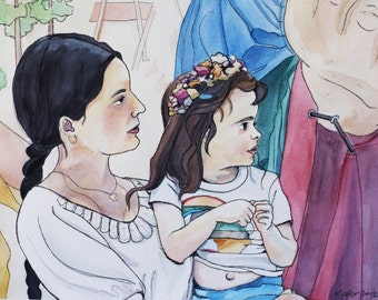 Custom Watercolor Portrait - Mother and Daughter