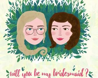 Bridesmaid Proposal, Custom Bridesmaid Card, Will You Be My Bridesmaid, Maid of Honor Card, Matron of Honor Card, bridesmaid gift