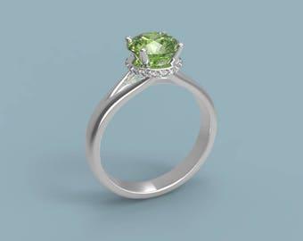 14k Peridot Engagement Ring White Gold Peridot Ring Peridot Diamonds White Gold Engagement Ring Peridot Halo Engagement Ring