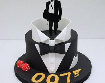 James Bond - Agent 007 - acrylic cake topper - birthday - any occasion