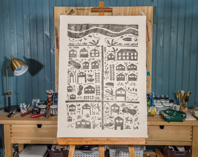 "23x32"" Original Linocut, ""Beach Rd."" Hand Carved. Hand Inked. Hand Pressed."