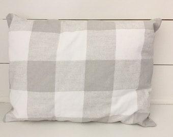 """Gray Buffalo Check decorative pillow (12""""x16"""") COVER ONLY - farmhouse decor"""