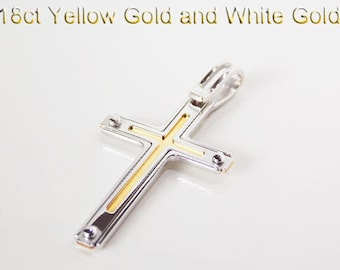 18ct 750 Two Tone White and Yellow Gold Crucifix Cross Pendant - PS83