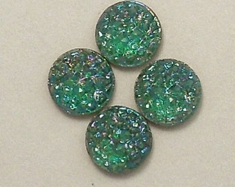 8mm Flat/Faceted Back Round Emerald Mountain Top Stones (3)