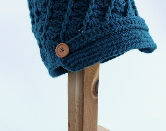 Spiral Shell Newsboy Hat, Crochet, Ladies