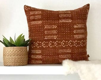Rust Brown and Cream MudCloth Pillow /  Mud Cloth Pillow Cover