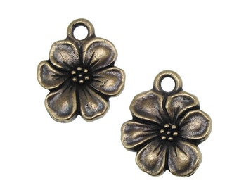 Bronze Charms - Flower Charms - TierraCast APPLE BLOSSOM Drops - Oxide Antique Brass Charms (P1132)