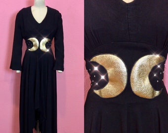 Vintage 1940s Dress • Black Crepe Crescent Moon Gown • Medium to Large