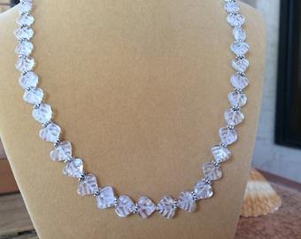 Stunning genuine Quartz crystal heart shaped leaf necklace