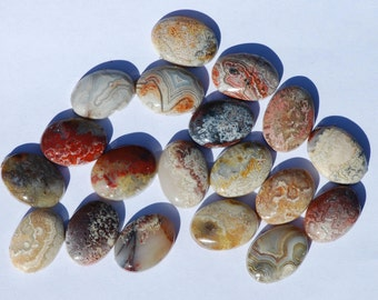 Mexican Lace, Crazy Lace Agate Cabochon, One Piece, Oval, Brown, Tan, White, 18 x 13 mm, C1021