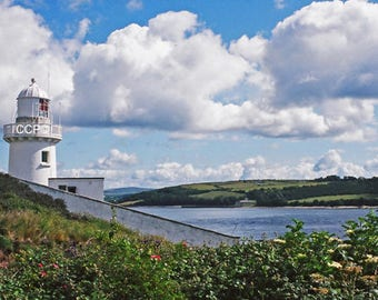 Youghal Lighthouse, County Cork, Ireland Photo, Irish Decor, Coastal Print, Nautical Photo, Fine Art, White Lighthouse, Wall Decor