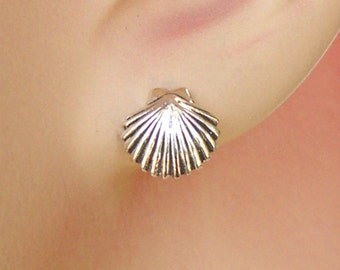 Earrings Scallop Sea Shell Sterling Silver Tropical Ear Studs no. 3465