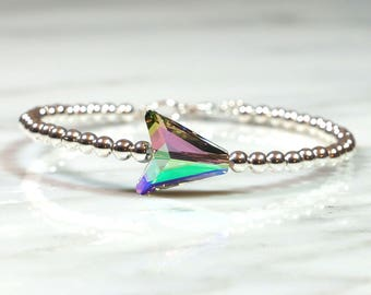Arrow Bracelet, Arrow bangle, Silver Bangle, Ball Bracelet, Crystal bracelet, Layering bracelet, Statement bracelet, Gifts For Her
