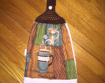 Hanging kitchen towel coffee pattern