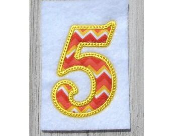 Embroidery design, Nunber 5 applique, 5th birthday embroidery design, 3 sizes, 5th birthday