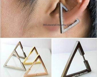 Conch Earring Triangle -  Gauge Earring - Ear Cartilage Piercing - Customization Available - 14g 16g 18g 20g pin - Single Earring E235