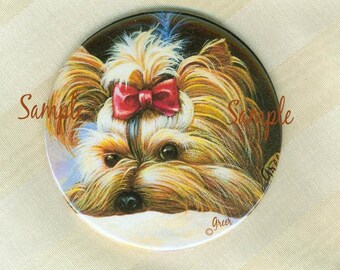 Peek a Boo Yorkshire Terrier Portrait Painting  Playing Yorkie Purse Mirror with Bag 2 sizes available