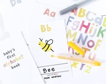 Baby Shower Alphabet Book, Printable Shower Activity, DIY Baby Book, Baby Shower Download, Baby Shower Game, DIY Alphabet Book