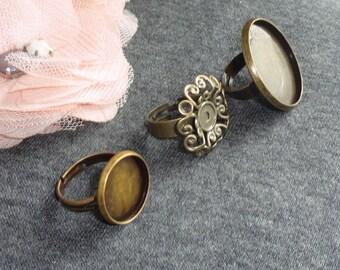 3 bronze metal ring holders, ring ring, bronze ring, vintage ring, cabochon ring,