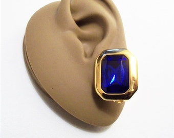 Kim Royal Blue Crystal Clip On Earrings Gold Tone Vintage Large Square Clear Faceted Stone Wide Band Edge