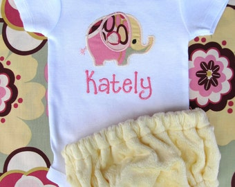 Personalized Embroidered Elephant Bodysuit and Diaper Cover Set- Baby girl Set- Embroidered Elephant Set- Minky Diaper Cover Set