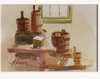 The Modern Shaker Kitchen, Original Watercolor Shaker Village of Pleasant Hill, Kentucky