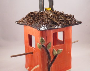Coral Square Bird Feeder with textured roof, Ceramic Stoneware