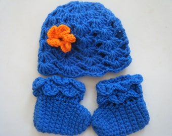 Baby booties and hat set