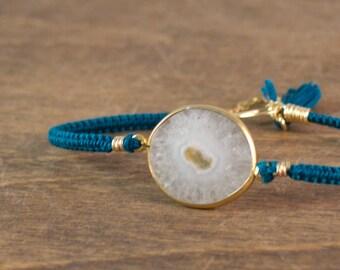 Macrame Solar Quartz Crystal and Silk Bracelet - 14k Gold Fill - One of a Kind