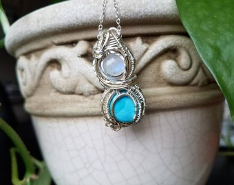 Blue Moon - Moonstone and Turquoise Wire-Wrapped in Fine Silvers and 14k Goldfill