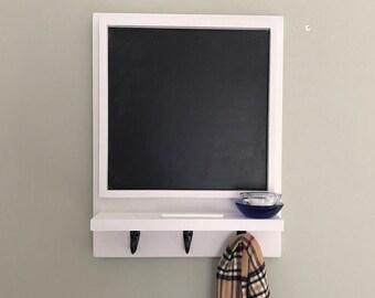 Blackboard, Chalkboard, Framed Chalk Board with Shelf and Hooks, Memo Board, Office Decor, Command Center, Entryway Decor