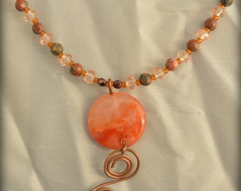 "20"" necklace with red agate pendant and matching earrings"