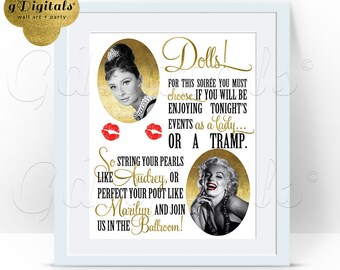 Audrey and Marilyn poster party sign, 1950s hollywood party, Monroe great gatsby signs, rat pack, old hollywood style. 8x10 {Glitter/Foil}