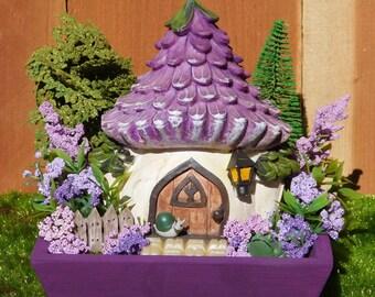 Purple Cottage Fairy Garden-Fairy Garden-Desk Top Garden-Miniature Garden-Enchanted Garden-Mini Garden-Purple Flowers-Spring-Cottage-Garden