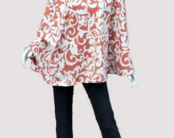Orange and Cream Poncho with Cowl Neck that converts to a Hood (one size fits most)