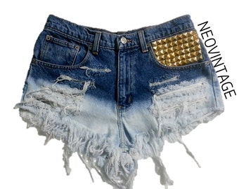 High Waisted Ombre Bleached Gold, Silver, Bronze Pyramid Studded Fringed Denim Festival Shorts