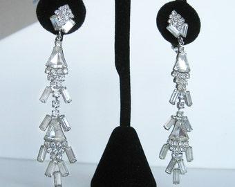 Vintage 1960s Dangle Drop Rhinestone Earrings Pop Art Style Twiggy High Fashion
