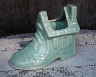 Vintage Aqua Shoe House Planter/Planters and Pots/Home and Living/Home and Garden/Mid Century Planter/Indoor Planter/Succulent Planter
