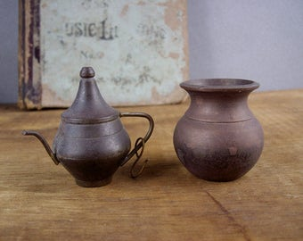 Vintage Pair of Rustic Miniature Brass Pot and Pitcher, 1960s