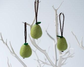 Mini felt pear hanging decoration, set of three