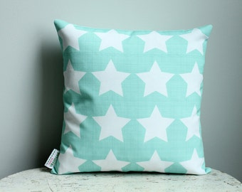 Pillow cover mint star 14 inch 14x14 modern hipster accessory home decor nursery baby gift present zipper closure canvas ready to ship