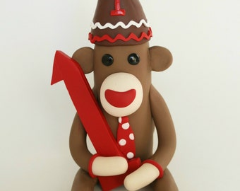 Sock Monkey Birthday Cake Topper BIG 6 inch Fondant Style (polymer clay) with Party Hat and NUMBER