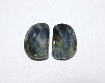 2 Pieces Outrageous Natural Sapphire Rose Cut Fancy Shaped Loose Gemstone Size 19X11 MM