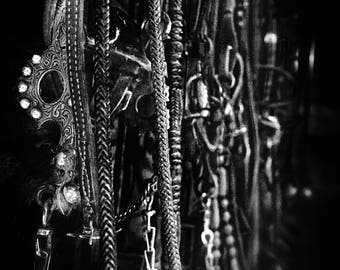 Tack on the Wall (Metal Panel) bits bridles reins on the wall of a tack room