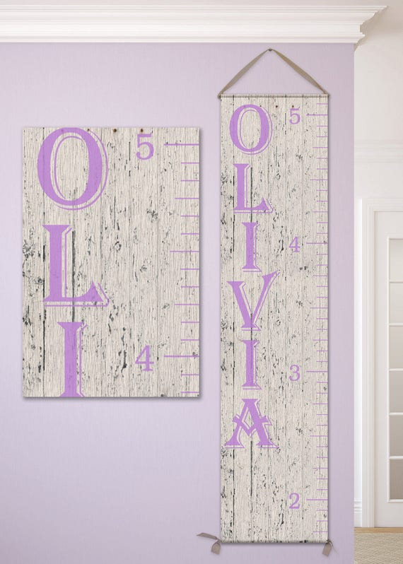 Personalized Canvas Growth Chart, Growth Chart Girl, Girl Growth Chart - Canvas Wooden Growth Chart - GC0101L_Alg