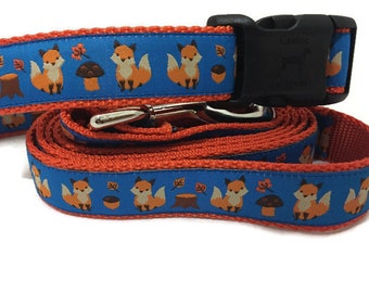 Dog Collar and Leash, Fox, 6ft leash, 1 inch wide, adjustable, quick release, metal buckle, chain, martingale, hybrid, nylon