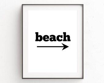 Beach House Sign, Beach House Decor, Beach Sign, Beach Wall Art, Typography Print, Beach Wall Decor, Beach Cottage Decor, Beach Art Print