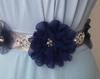 Wedding blue sash,  bridal sash
