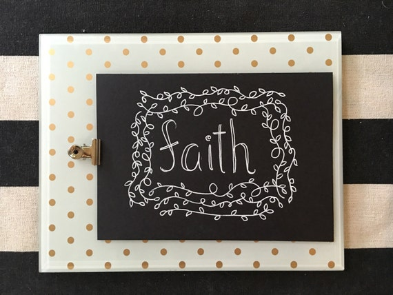 "Custom Calligraphy ""FAITH""  White Ink Chalkboard Art Print / Heavyweight Chalkboard Paper and Chalk Pen / Frameable /"